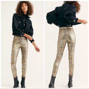 Free People gold snakeskin vegan leather leggings